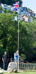 Regatta officially underway with the Kingswear Rowing Club Flag hoist